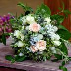 Pasztell hortenziás menyasszonyi csokor