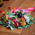 Színes nyári esküvői koszorú
