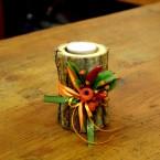 Őszi farönkös asztaldísz