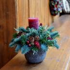 Bordó gyertyás karácsonyi asztaldísz