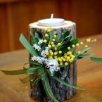 Tavaszi farönkös asztaldísz
