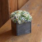 Tavaszi asztaldísz fadobozban, fehér virágokkal
