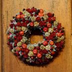 Piros bogyós-terméses sóvirág koszorú
